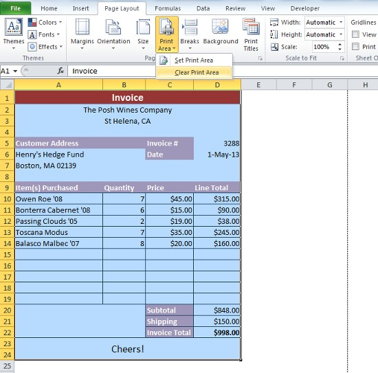 Nm Gross Receipts Tax Rate Word Excel Formula Help  Creating An Invoice With Dropdowns Part   Discount Invoicing Excel with Sample Receipt Letter For Cash Pdf  Layout Ribbon First Select Print Area Option And Click On Clear Print  Area This Will Reveal What The Print Area Actually Is With Dotted Lines  Running  Restaurant Receipt Template Free Download Word