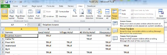 how to keep heading in excel when scrolling down