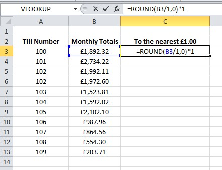 Excel Formula Help - Rounding to the nearest £1.00