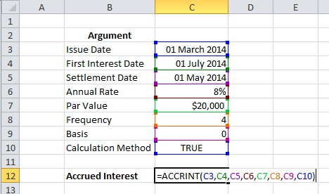 how to use accrint formula in excel