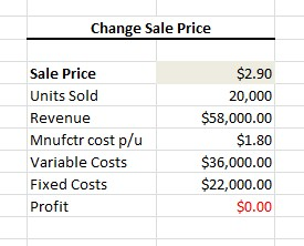 how to calculate break even point on excel 2016