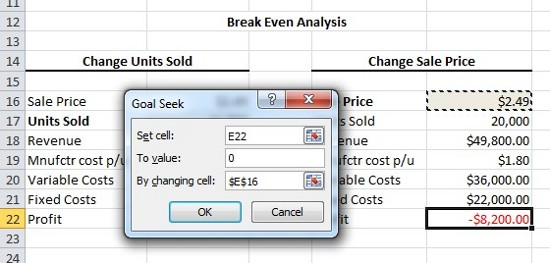 Expert Excel Help Creating a BreakEven Analysis with Goal Seek